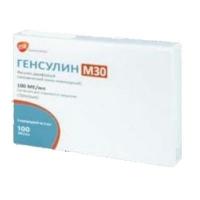 Генсулин М30 100 ЕД/мл 3 мл №5 раствор для инъекций