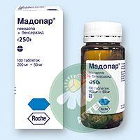 Мадопар 250 мг N100 таблетки